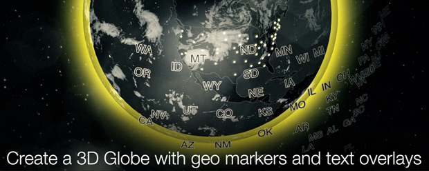 Create a 3D Globe with geo markers and text overlays