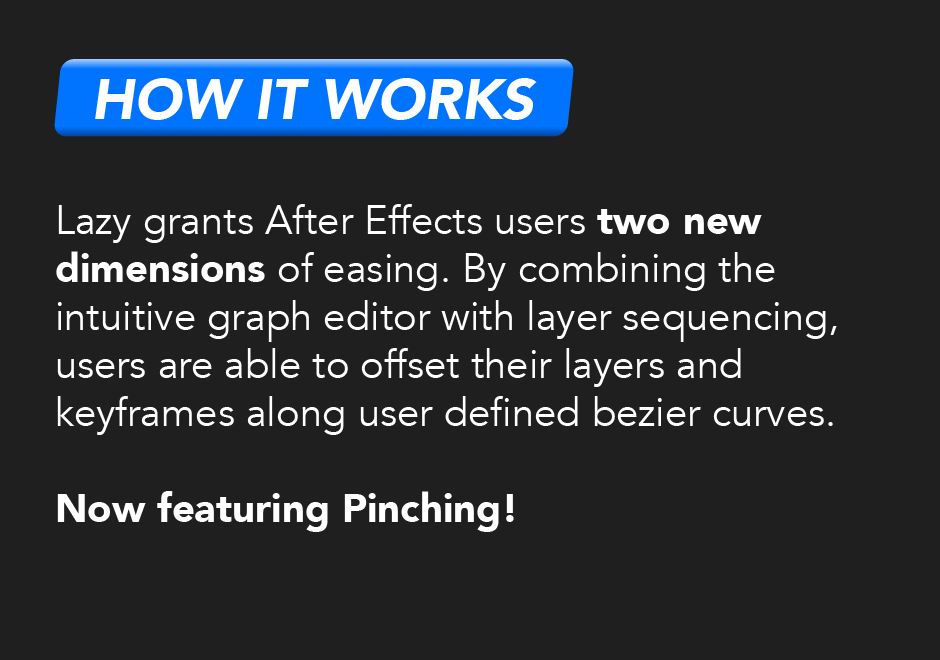 How it works: Lazy grants After Effects users two new dimensions of easing. By combining the intuitive graph editor with layer sequencing, users are able to offset their layers and keyframes along user defined bezier curves. Now featuring pinching!