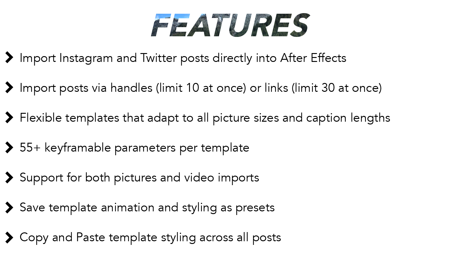Features: Import Instagram and Twitter posts directly into After Effects. Import posts via handles (limit 10 at once) or links (limit 30 at once). Flexible templates that adapt to all picture sizes and caption lengths. 55+ keyframable parameters per template. Support for both pictures and video imports. Save template animation and styling as presets. Copy and paste template styling across all posts.