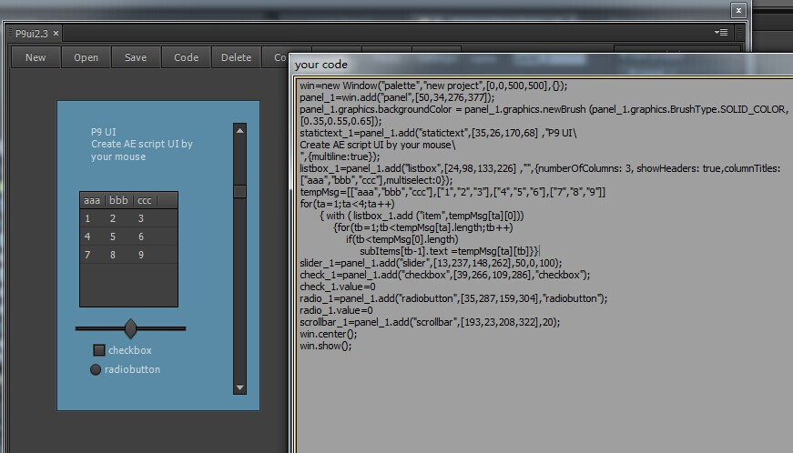 AE脚本:界面UI编写神器脚本含使用教程aescript P9 scriptUI builder v1.0.1 monter