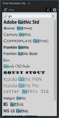 Filter font list by keyword
