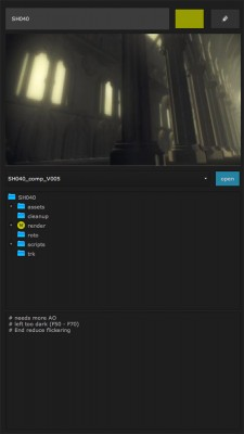 shot overview including thumbnail picture and status, comp loader, shot folder hierarchy and notes