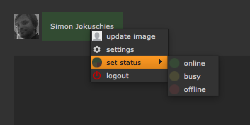 upload user icon, open smartMessage settings, set your status manually, logout