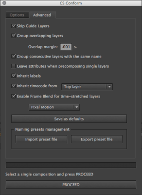 CS Conform v.1.2.3 Advanced Options