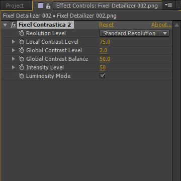 Fixel Contrastica 2 AE - User Interface