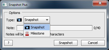 Snapshot Plus dialog for adding notes and categorizing snapshots