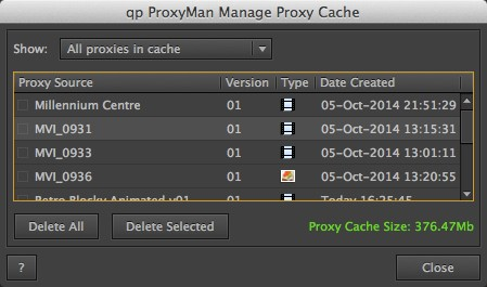 Manage Proxy Cache Dialog