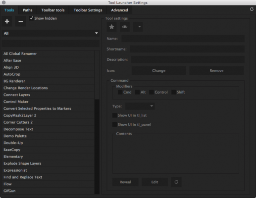 Settings Panel: Add, remove, and edit tools.