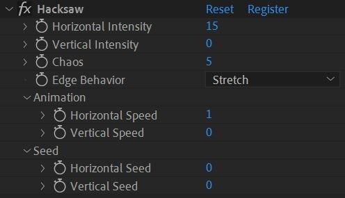 Hacksaw Effect Controls