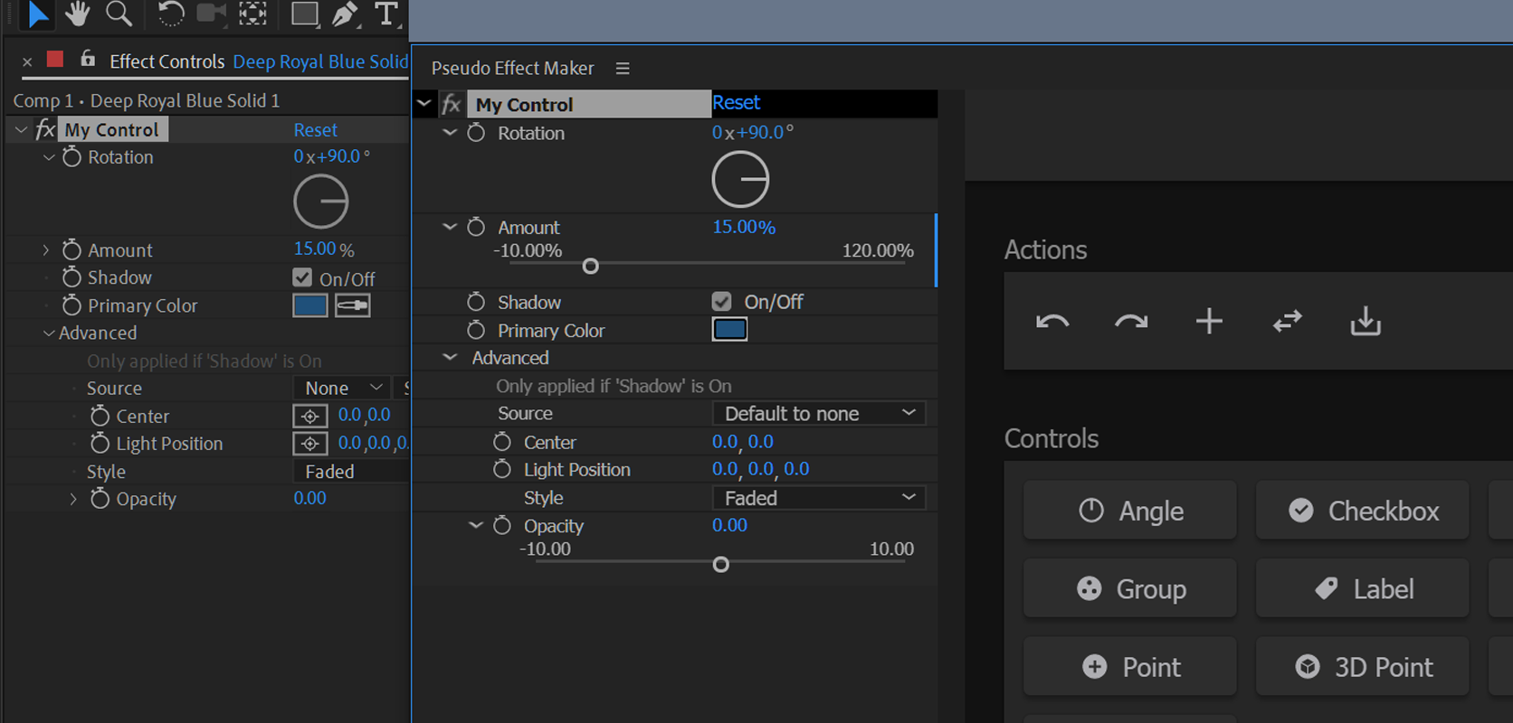 The Pseudo Effect Maker interface next to the applied control in the effect panel