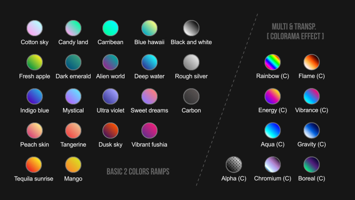 30 color presets to choose from