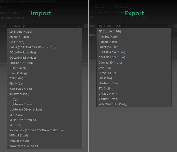 Batch Processor. Import and Export formats