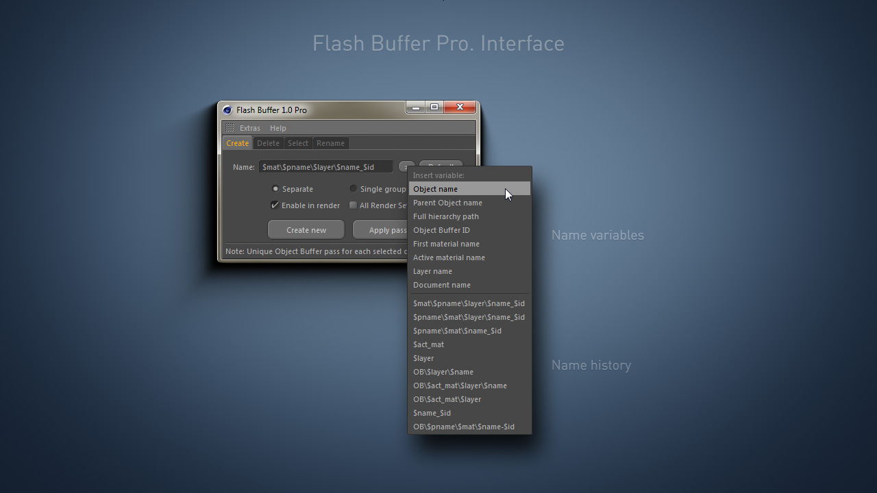 Flash Buffer. Name variables and history