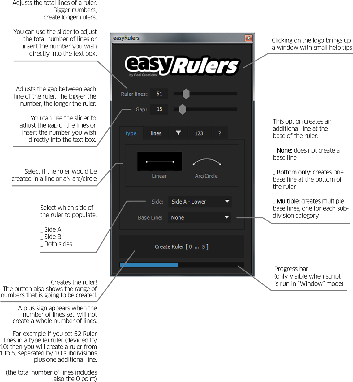 easyRulers - user interface