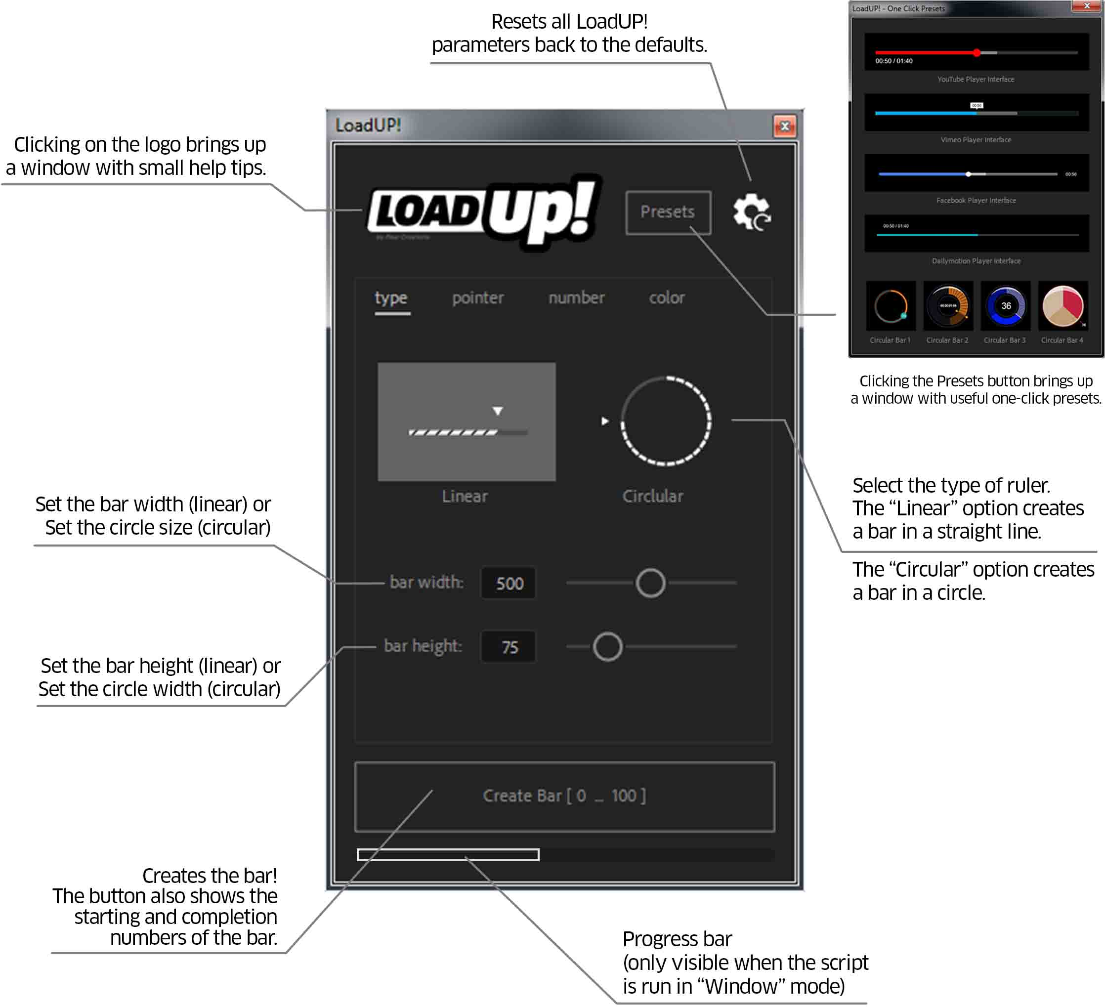 LoadUP - user interface