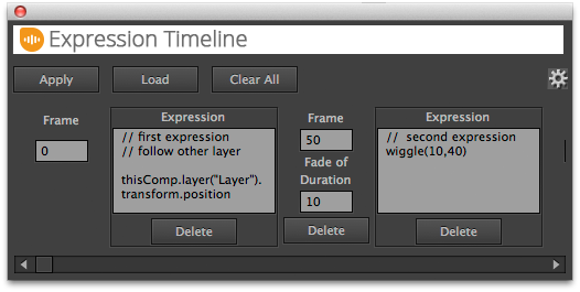 Interface of the ExpressionTimeline After Effects script